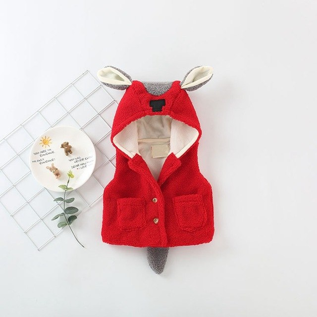 Cartoon Ear Hooded Sleeveless Fleece Winter Jacket
