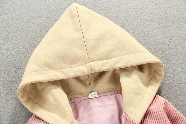 Corduroy Hooded Baby Winter Jacket