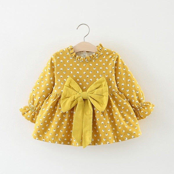 Flower Printed Bow Ruffles Sleeves Winter Dress For Baby Girls