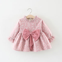 Flora Printed Bow Long Sleeves Winter Dress For Baby Girls