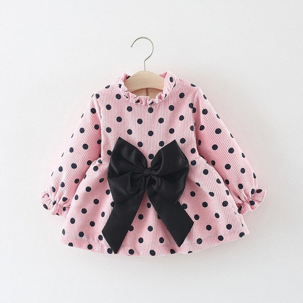 Polka Dots Velvet Winter Dress For Baby Girls