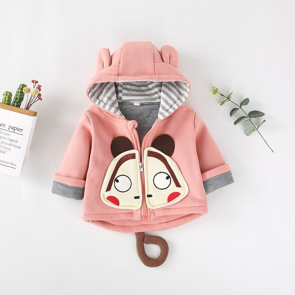 Monkey Hooded Baby Winter Jacket