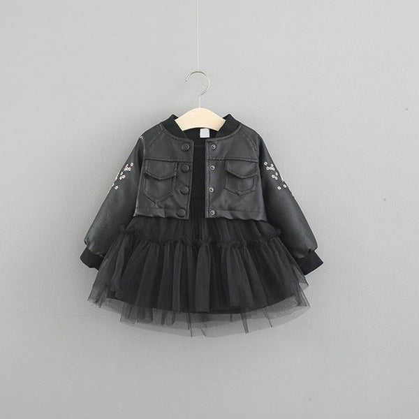 Net Ruffles Dress With Leather Jacket