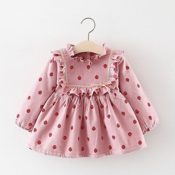 Strawberry Printed Long Sleeves Winter Dress For Baby Girls