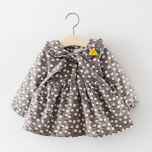 Cherry Printed Long Sleeves Winter Dress For Baby Girls