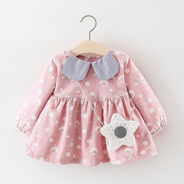 Printed Long Sleeves Winter Dress For Baby Girls