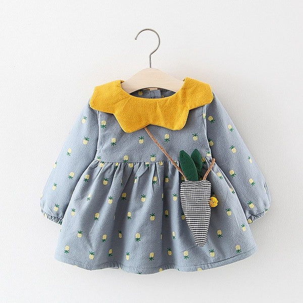 Pineapple Printed Long Sleeves Fleece Dress For Baby Girls