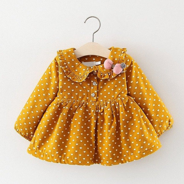 Heart Printed Long Sleeves Winter Dress For Baby Girls