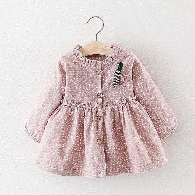 Floral Printed Buttoned Winter Dress For Baby Girls