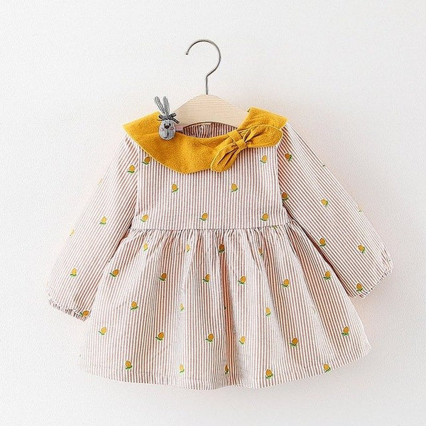 Mango Printed Bow Collar Long Sleeves Winter Dress