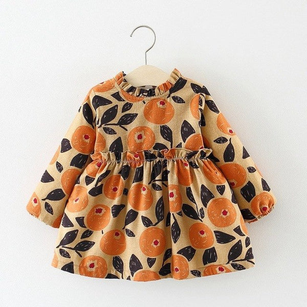 Printed Vintage Long Sleeves Winter Dress For Baby Girls