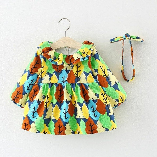 Tree Printed Ruffles Collar Dress With Headband