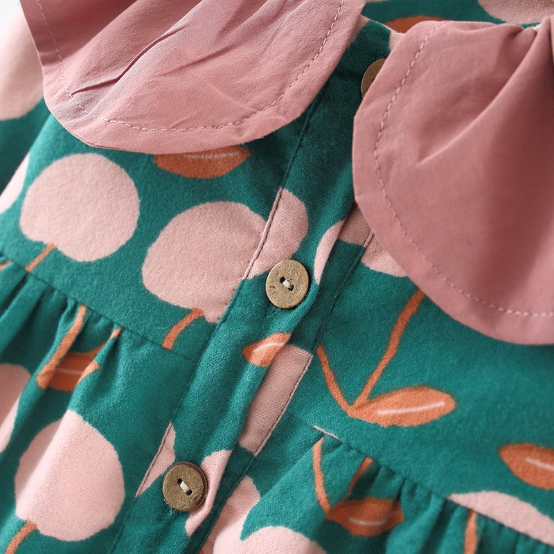 Cherry Printed Buttoned Dress With Headband