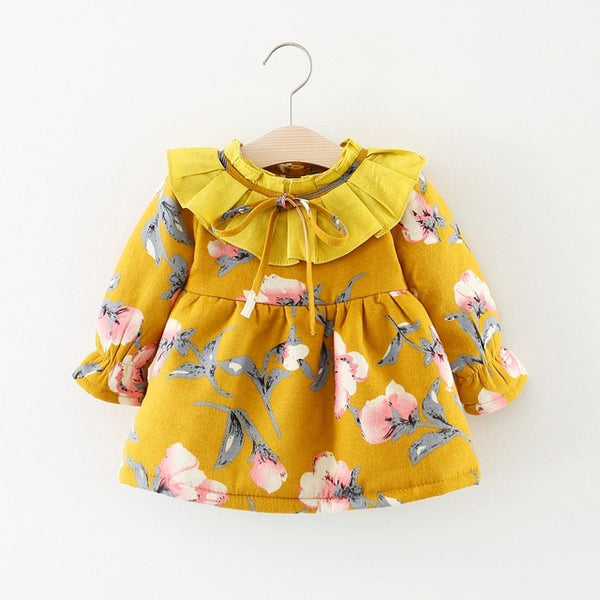 Floral Printed Long Sleeves Winter Dress For Baby Girls