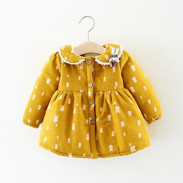 Rabbit Printed Buttoned Winter Dress For Baby Girls