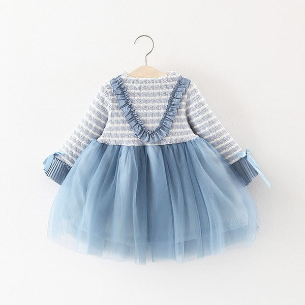 Ruffles Sleeves Half Striped Winter Dress