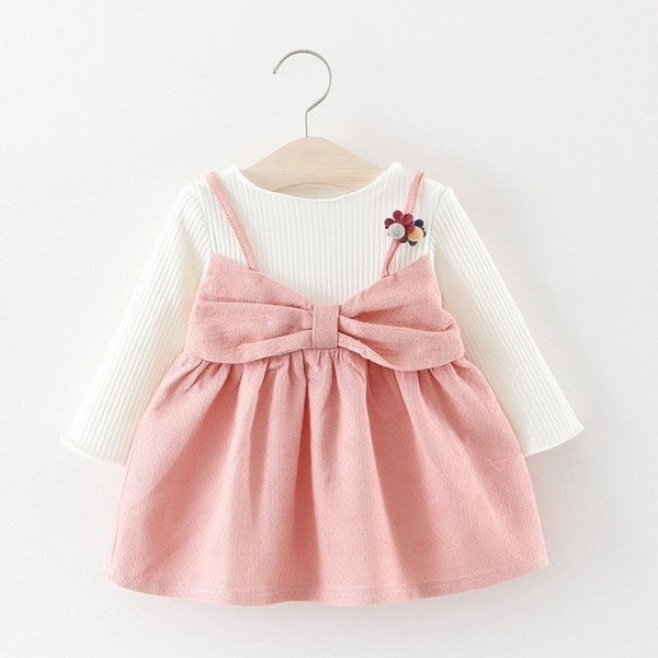 Long Sleeves Bow Made Winter Dress For Baby Girls