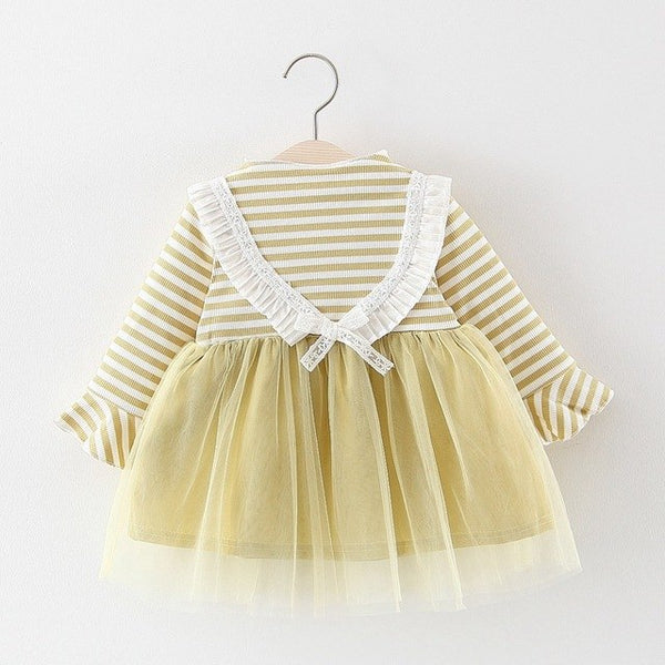Half Striped Ruffles Sleeves Mesh Tutu Dress