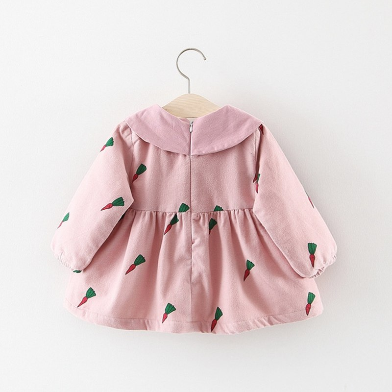 Carrot Printed Bow Collar Long Sleeves Winter Dress