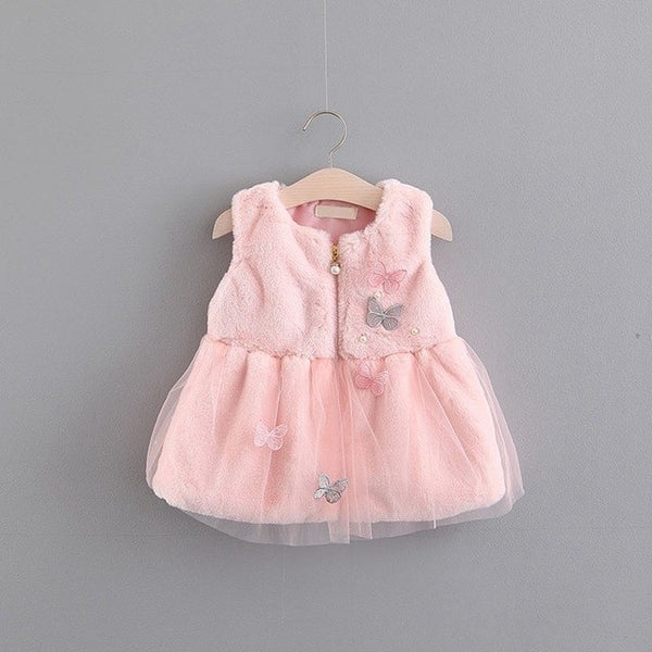 Butterfly Beaded Faux Fur Dress For Baby Girls
