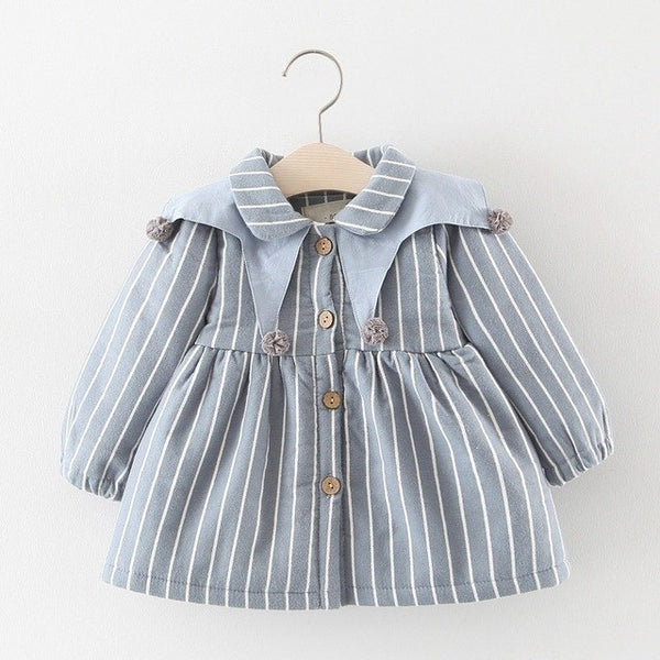 Striped Long Sleeves Buttoned Winter Dress For Baby Girls