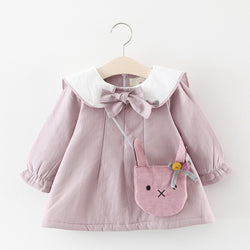 Bow Collar And Ruffles Long Sleeves Winter Dress For Baby Girls