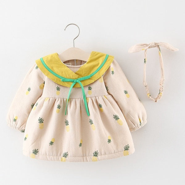 Pineapple Printed Long Sleeves Winter Dress For Baby Girls
