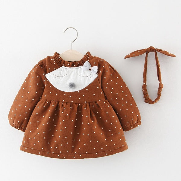 Polka Dots Cat Made Winter Dress For Baby Girls