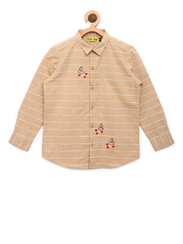 Beige Stripe Ship shirt