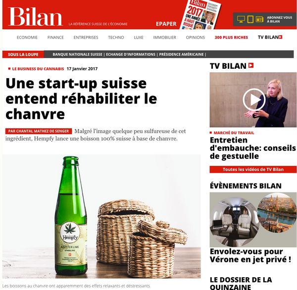 Hempfy cannabis drink article in Bilan magazine Switzerland