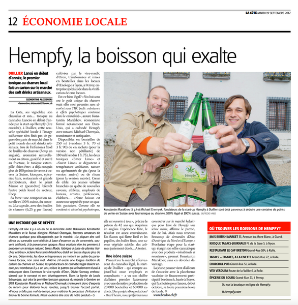 La Cote press article about Hempfy