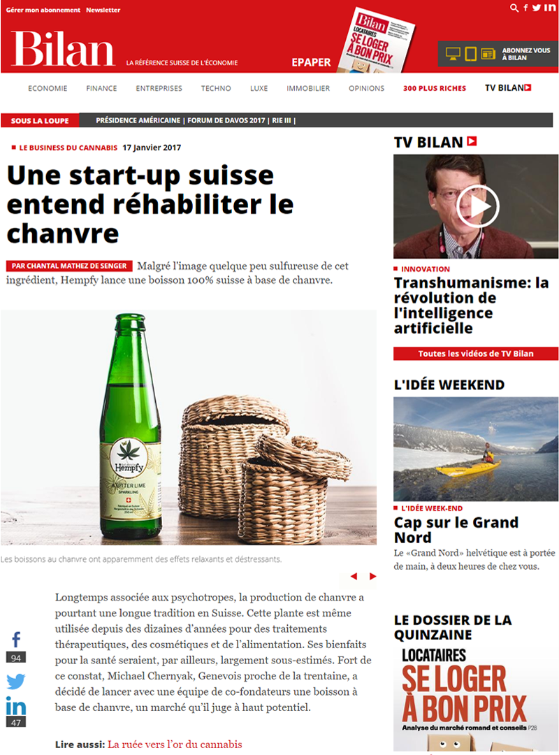 Bilan 15.01.17: Une start-up suisse entend réhabiliter le chanvre