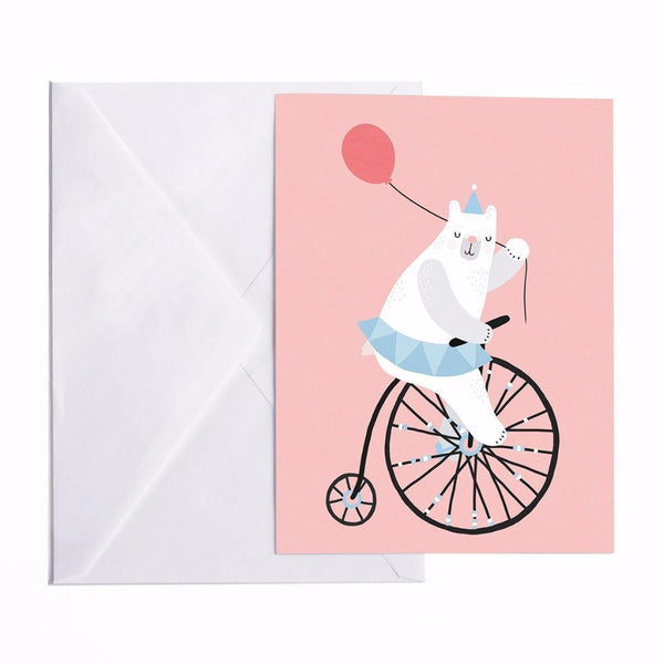 CARTE POSTALE CYCLING BEAR A5 Michelle Carlslund - Booboo Pirates