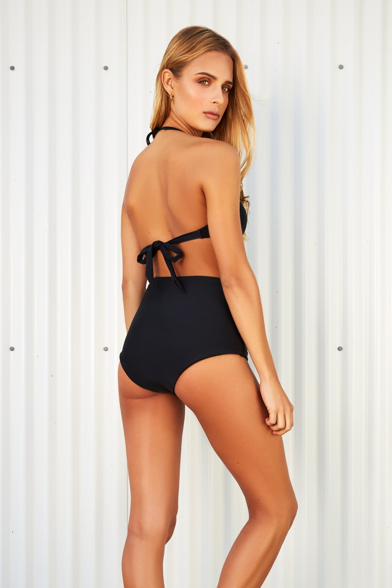 AUDREY BLACK HIGH WAISTED BIKINI BOTTOM