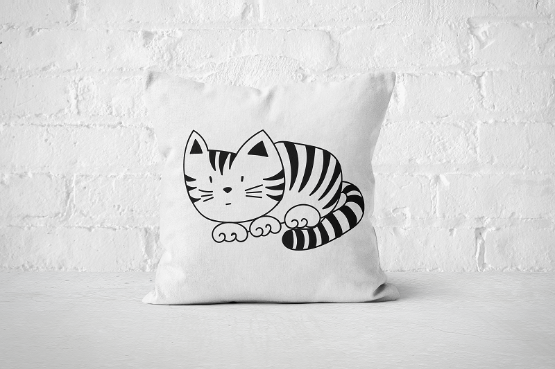 Striped Cat | Pillow - Square - But Why Not