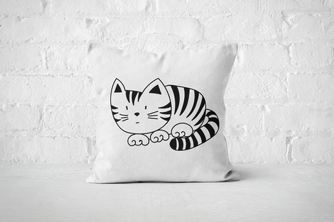 Striped Cat | Pillow - Square