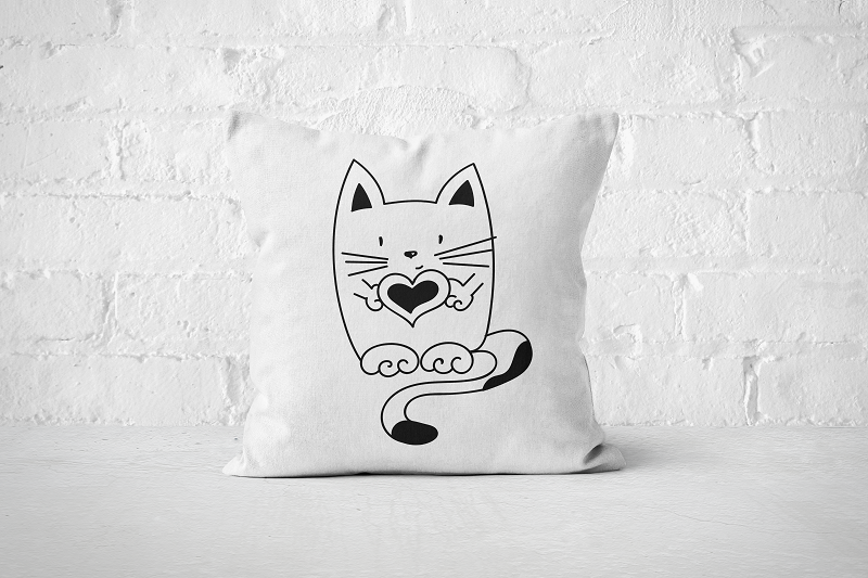 Heart Cat | Pillow - Square - But Why Not