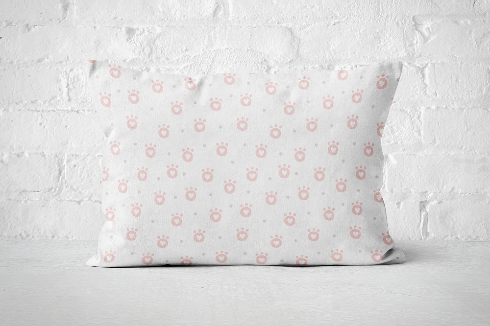 Smiley Critters Heart Paws Pink | Pillow Rectangle - But Why Not