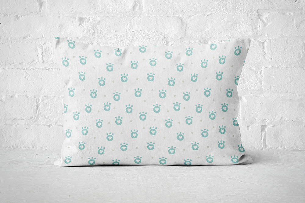 Smiley Critters Heart Paws Blue | Pillow Blue - But Why Not