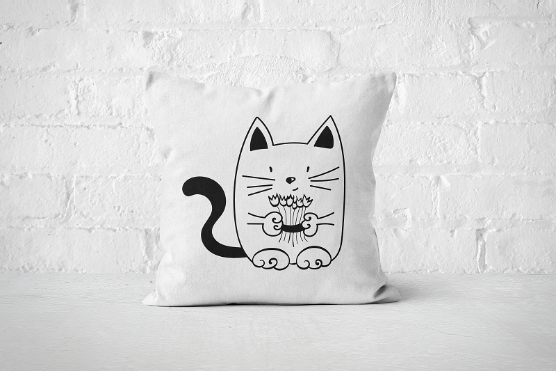 Flower Cat | Pillow - Square