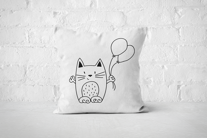 Balloon Cat | Pillow - Square - But Why Not