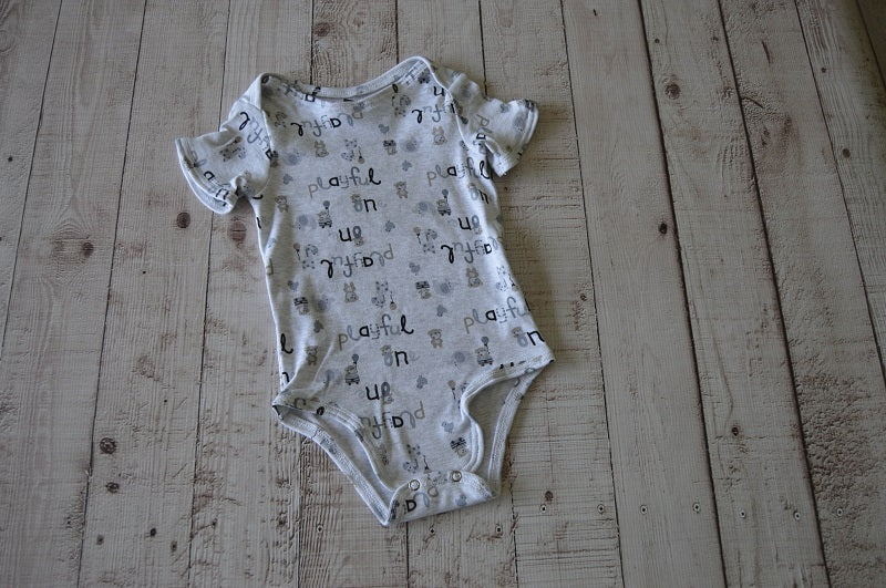 Playful Grey Baby Grow - But Why Not