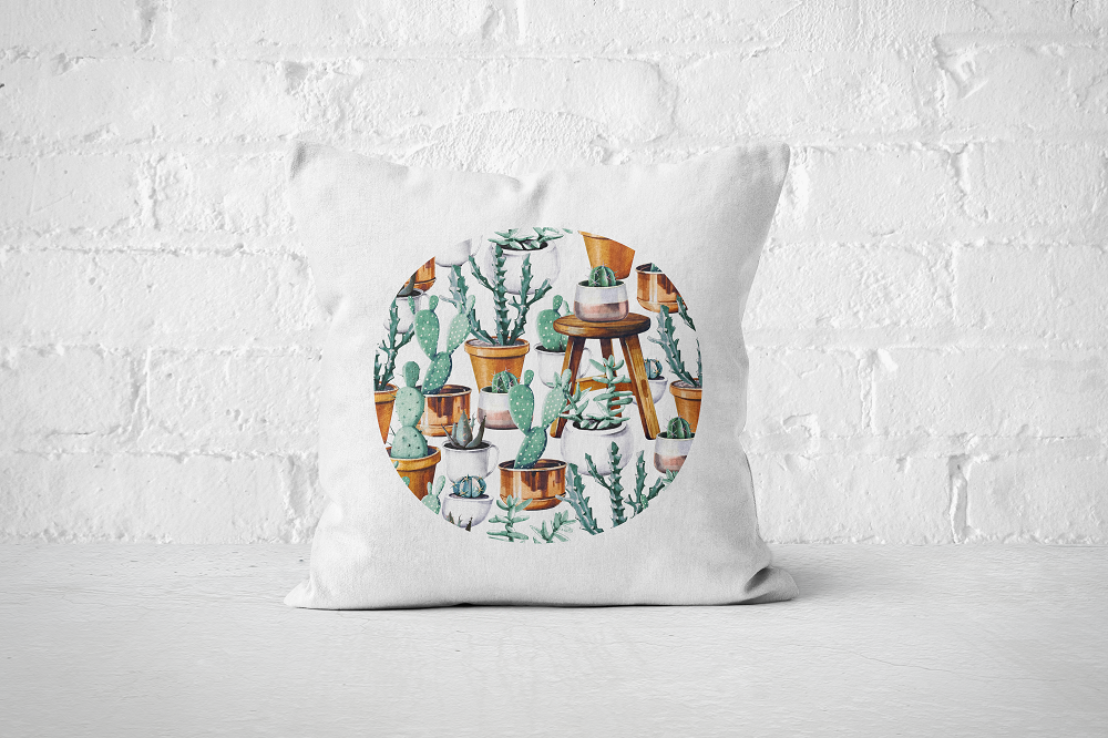 Cacti Party Pattern 14 | Pillow Cover - But Why Not