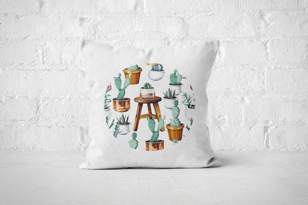 Cacti Party Pattern 15 | Pillow Cover - But Why Not