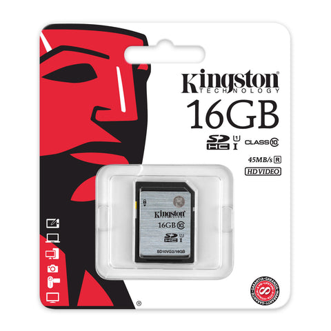SD - Carte SDHC/SDXC Kingston 16GB Class 10 UHS-I