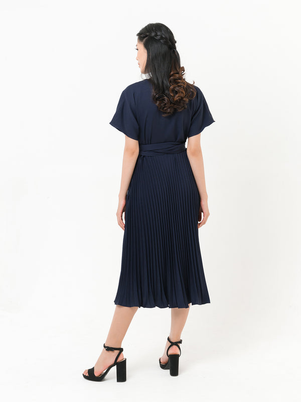 Carol Pleated Dress in NAVY