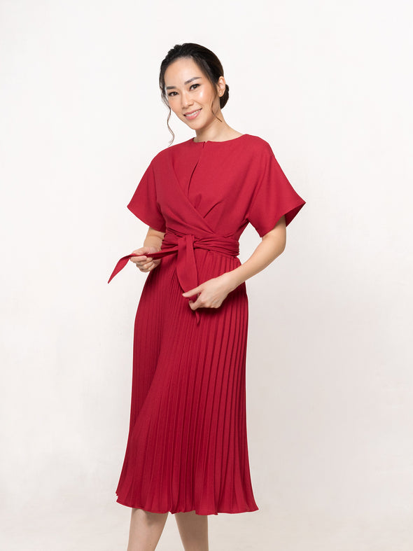 Carol Pleated Dress in RED
