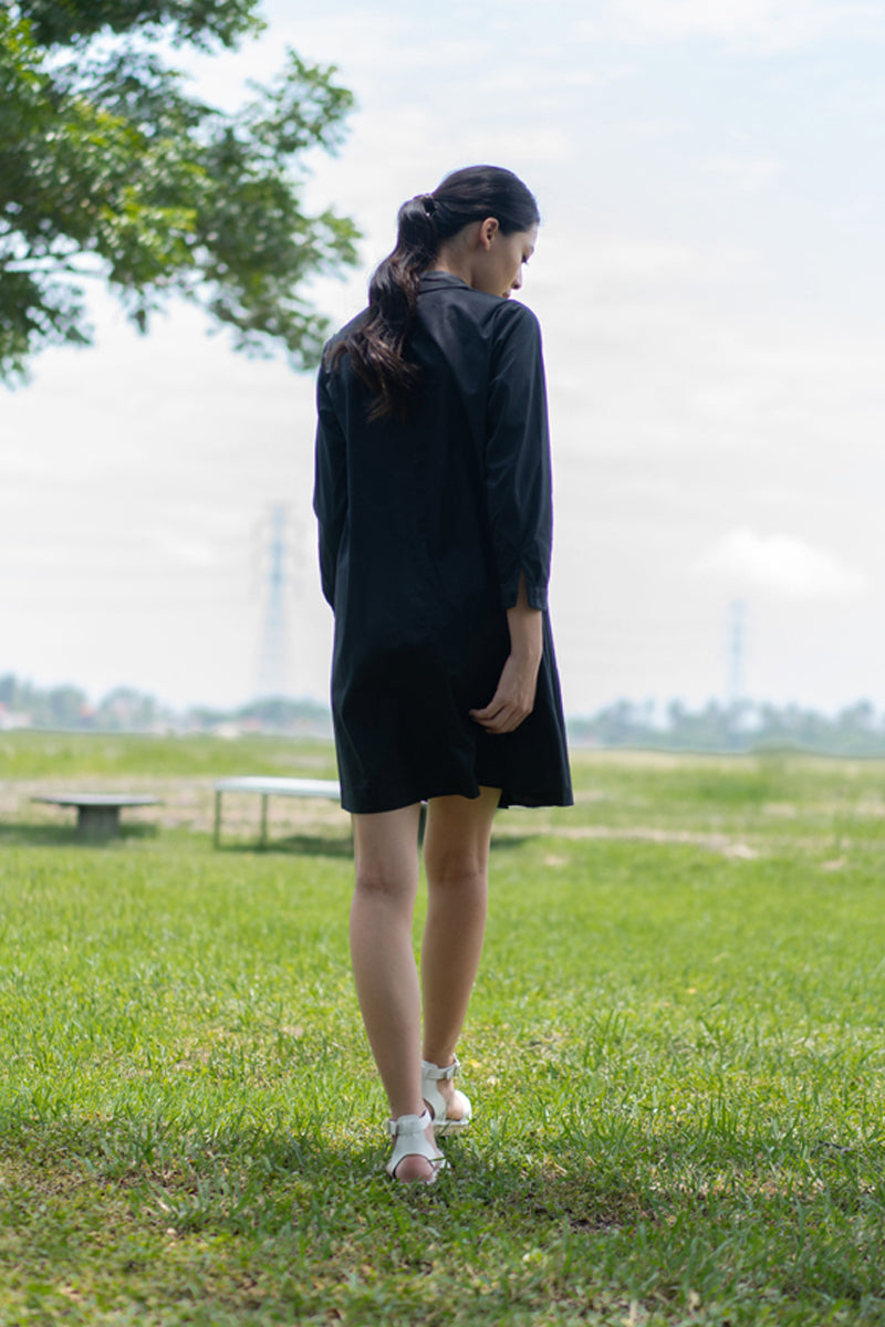 Maiara Cotton Shirt Dress Black