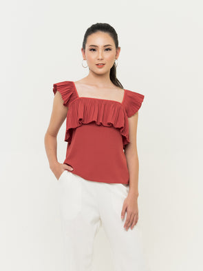 Kora Pleats Top - RED