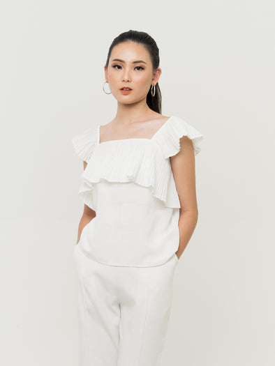 Kora Pleats Top - WHITE